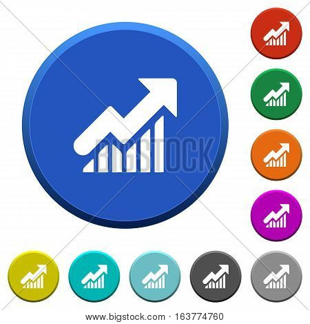 Rising graph round color beveled buttons with smooth surfaces and flat white icons