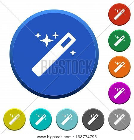 Magic wand round color beveled buttons with smooth surfaces and flat white icons