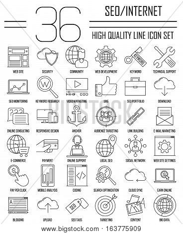 SEO icons. Internet and development signs. Web site, keyword, anchor, SMM, technical support, video marketing and other things. Line art vector illustration.