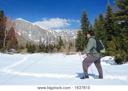 Climber Going Towards Mountain Top In Macedonia