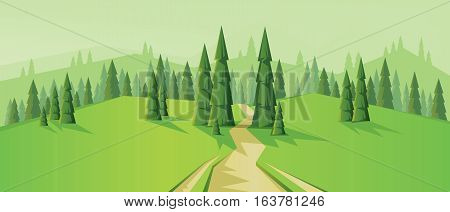 Digital vector abstract background with a road, pines and mountains, flat triangle style