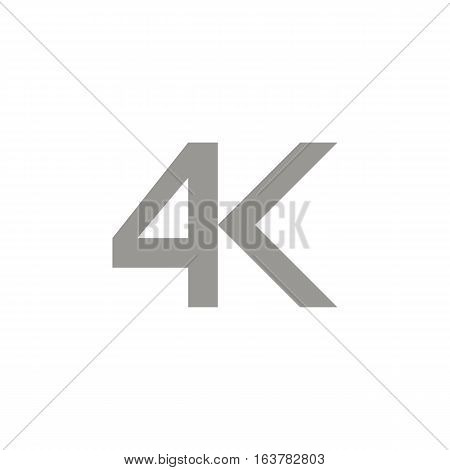 4k icon vector illustration. Modern video resolution.