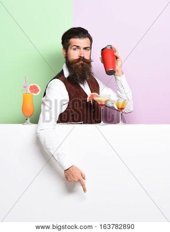 Serious Handsome Bearded Barman
