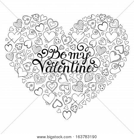 Colorful Valentine's card with hearts and Be my Valentine inscription on center. Coloring page for children and adult.Vector illustration.