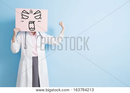 woman doctor take angry billboard and show strong arm to youasian