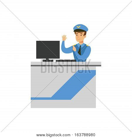 Customs Officer Monitoring Luggage Security Scan, Part Of Airport And Air Travel Related Scenes Series Of Vector Illustrations. Smiling Cartoon Character Airport Professional Employee.