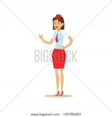 Flight Attendant In Red Uniform, Part Of Airport And Air Travel Related Scenes Series Of Vector Illustrations. Smiling Cartoon Character Airport Professional Employee.