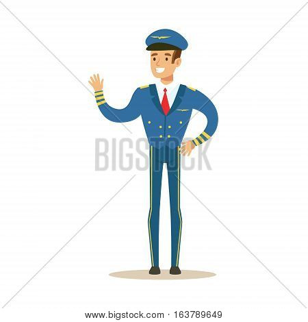Commercial Airlines Pilot In Uniform, Part Of Airport And Air Travel Related Scenes Series Of Vector Illustrations. Smiling Cartoon Character Airport Professional Employee.
