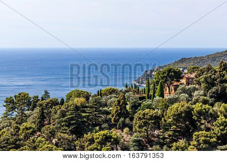 House in the hills on Cote d'Azur ocean and forrest France