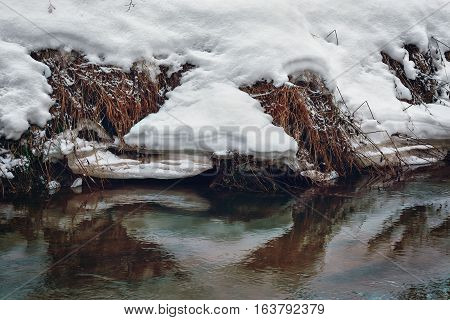 The ice floe on the river bank in a thicket of grass with white snow.