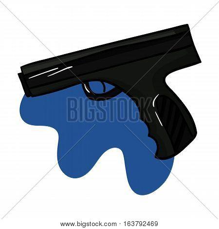 Paintball hand gun icon in cartoon design isolated on white background. Paintball symbol stock vector illustration.