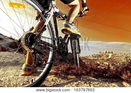 Extreme sports.Mountain bicycle and man.Life style outdoor extreme sport.Mountain bike.Sport and healthy life