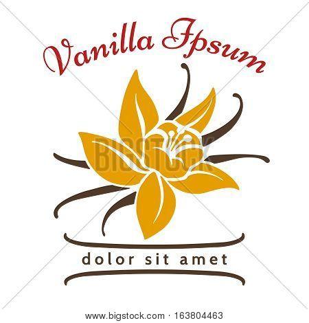 Vanilla dessert flavor logo. Vanillas aromatic flower and bean silhouette vector icon isolated on white background. Aromatic spice organic logo illustration