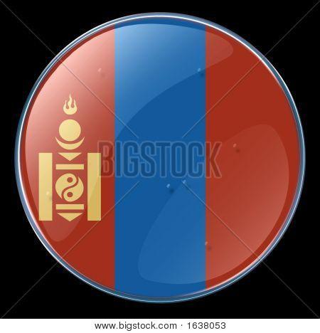 Mongolia Flag Button.