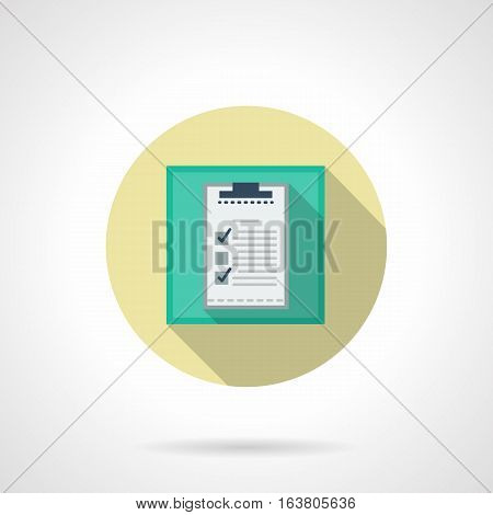 Green square symbol with clipboard. Checking and notes of sport results, training program, preparations for sporting event or golf tournament. Round flat design vector icon.