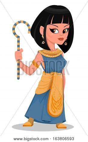 Cleopatra beautiful cartoon Egypt Queen in golden dress and with crook in her hand. Vector illustration.