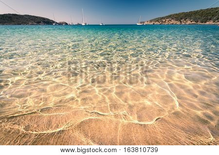Transparent sea and crystal clear water of Sardinia island Italy.