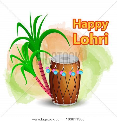 Happy Lohri greeting card with drum and sugarcane Punjabi traditional Festival. Vector illustration on white background