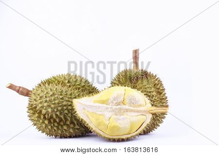 yellow peeled   durian  mon thong is king of fruits durian and  fruit plate tropical durian on white background healthy durian fruit food isolated