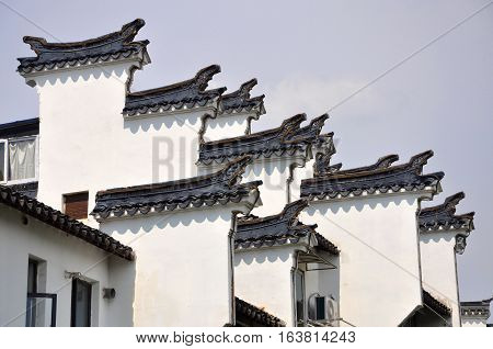 Huizhou Architecture Horse Head Gables in Nanjing, Jiangsu Province, China. Horse Head Gables intended to prevent fire jumping from one building to another.