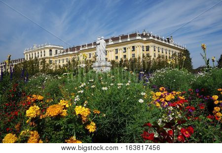 The Schonbrunn Palace and gardens in Vienna Austria