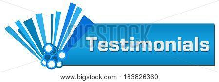 Testimonials text written over blue abstract background.