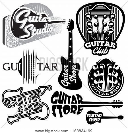 vector set of monochrome templates for logo on the theme of music and guitar