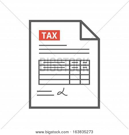 Filling tax form. Payment of taxes concept. Modern concept for web banners, web sites, infographics. Creative flat design vector illustration. Thin line.