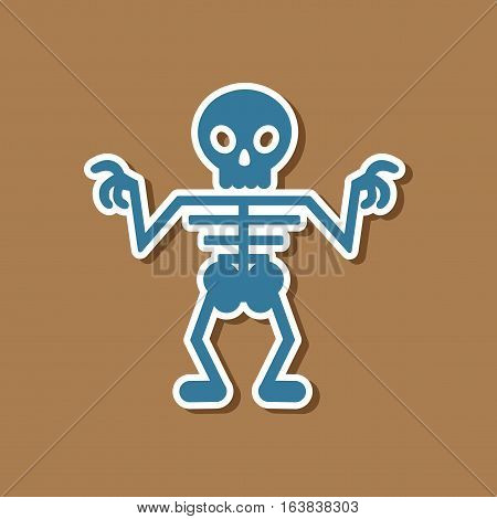paper sticker on stylish background of halloween skeleton
