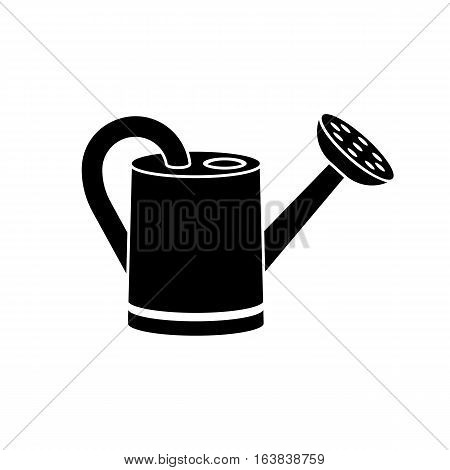 Watering can, black silhouette on white background. Watering seedlings icon. Vector illustration flat design. Tools for the garden.