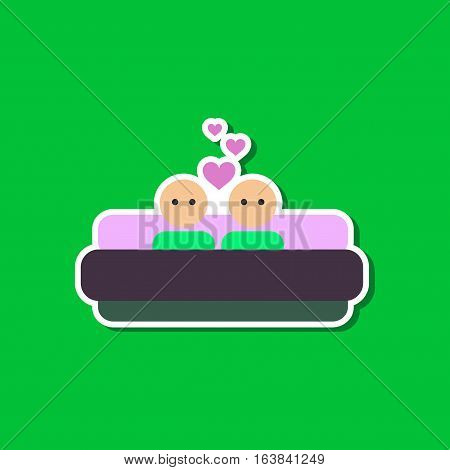 paper sticker on stylish background gays in bed