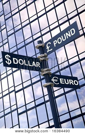 Money concept image of a signpost with Pound, Dollar and Euro against a modern glass office building.