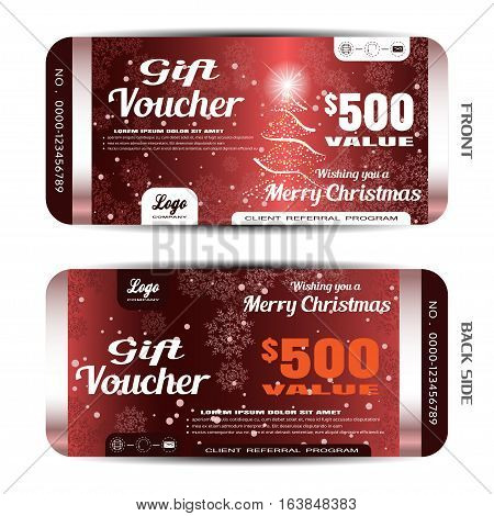 Vector new year gift voucher on the dark red gradient background with Christmas tree snowflake pattern and snow.
