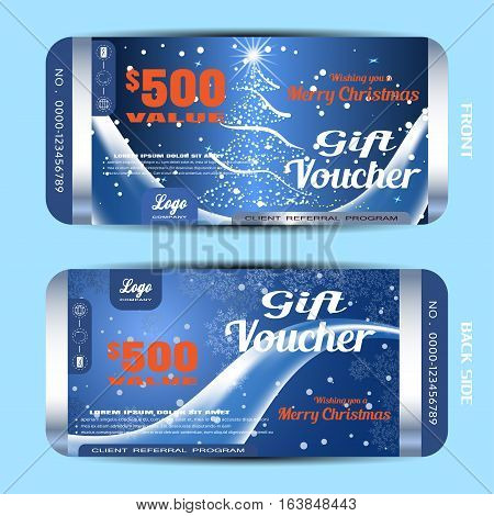 Vector new year gift voucher on the dark blue gradient background with Christmas tree snowfall ice wave and strips.