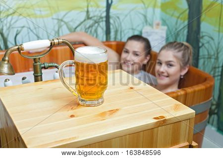 Beautiful Women In A Beer Spa.