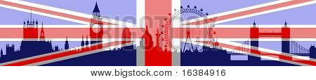 London Skyline With Flag On Background