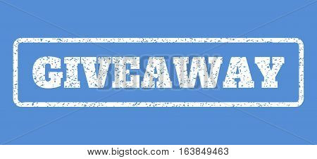 White rubber seal stamp with Giveaway text. Vector message inside rounded rectangular shape. Grunge design and scratched texture for watermark labels. Horisontal sign on a blue background.