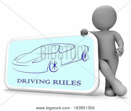 Driving Rules Shows Passenger Car 3D Rendering
