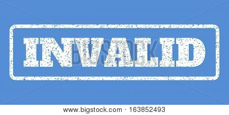 White rubber seal stamp with Invalid text. Vector message inside rounded rectangular frame. Grunge design and unclean texture for watermark labels. Horisontal sign on a blue background.