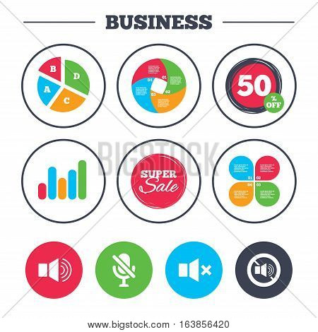Business pie chart. Growth graph. Player control icons. Sound, microphone and mute speaker signs. No sound symbol. Super sale and discount buttons. Vector