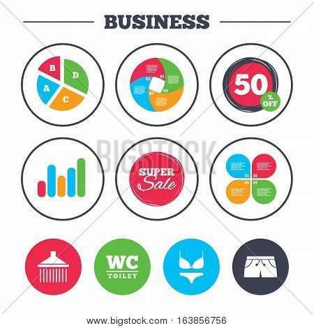 Business pie chart. Growth graph. Swimming pool icons. Shower water drops and swimwear symbols. WC Toilet sign. Trunks and women underwear. Super sale and discount buttons. Vector