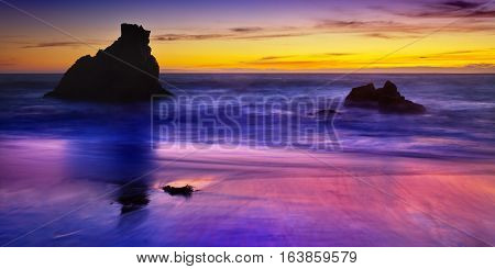 Point Reyes Sea Shore Landscape With Sea Stacks At Sunset.