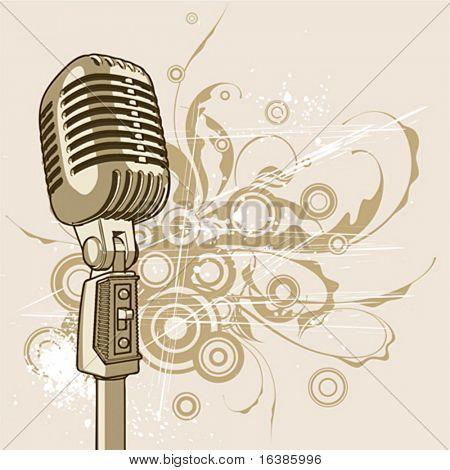 vector vintage microphone