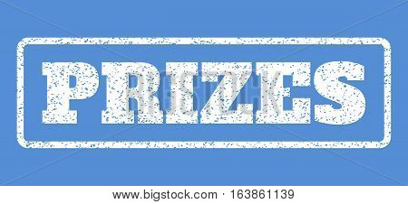 White rubber seal stamp with Prizes text. Vector tag inside rounded rectangular shape. Grunge design and dirty texture for watermark labels. Horisontal sticker on a blue background.