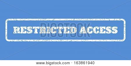 White rubber seal stamp with Restricted Access text. Vector message inside rounded rectangular banner. Grunge design and dirty texture for watermark labels. Horisontal sign on a blue background.