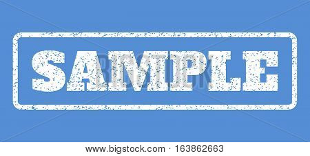 White rubber seal stamp with Sample text. Vector tag inside rounded rectangular shape. Grunge design and unclean texture for watermark labels. Horisontal emblem on a blue background.