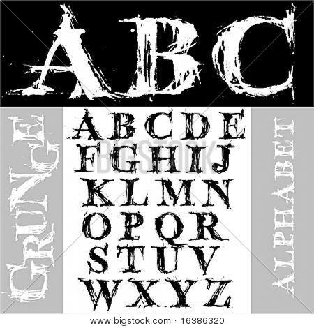 Alfabeto de grunge de desenhar mão