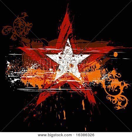 Roter Stern auf schwarzem Hintergrund und orange Grunge Blumen ornament