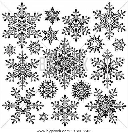 colección de copo de nieve de Vector