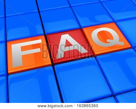 Faq Blocks Means Frequently Asked Questions 3D Illustration